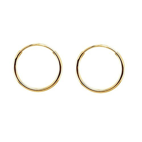 Continuous Endless Round Circle 14k Yellow Gold Hoop Earrings 10mm by iJewelry2