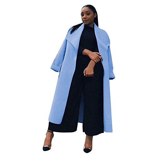 BOLAWOO Manteaux Femme Longues Automne Hiver Trench Elgante Uni Manche Mode Chic Revers Outwear Manches Longues Large Casual Branch Coat Jacken Gelb