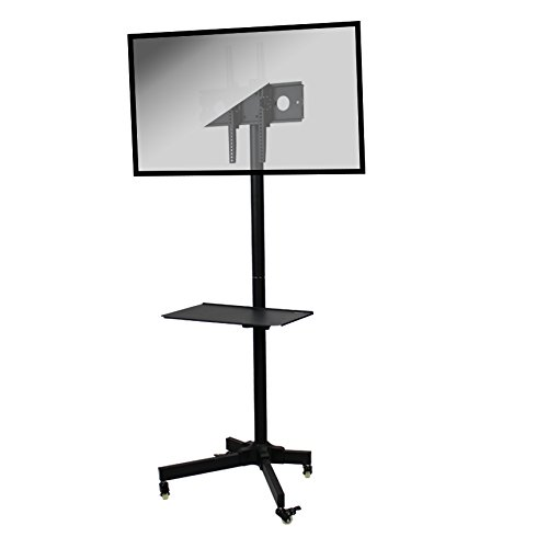 NavePoint Flat Panel TV Cart Height Adjustable 23'' to 55'' Mobile Stand w/Wheels by NavePoint