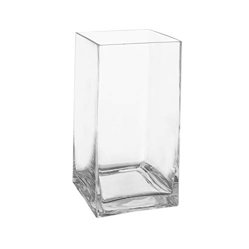 (Royal Imports Flower Glass Vase Decorative Centerpiece for Home or Wedding Tall Rectangle Shape, 10