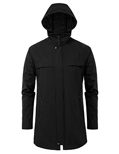 PJ PAUL JONES Men's Hooded Long Rain Jacket Windbreaker Lightweight Waterproof Outdoor Rain Coat