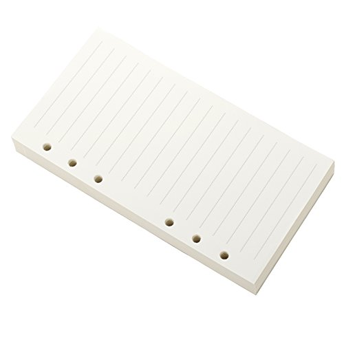 Ancicraft Refills Paper 6 Hole A6 3.75 X 6.75 Inches Lined Creamy White Paper for Loose Leaf Binder Notebook 100 Sheets / 200 Pages