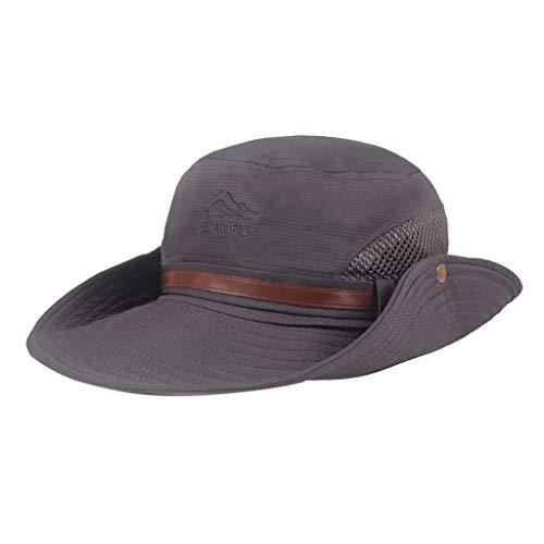 (DDKK hat Fishing Hat,Bucket Hat,UPF 50+ Sun Protection Hat-Wide Brim Outdoor Cotton Bucket Hats,Hiking, Beach, Sports Grey)