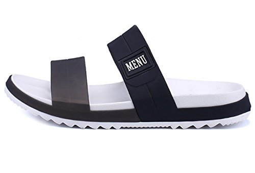 - WangJiaoHou Mens Slip On Sandals Slippers Comfortable Shower Slides Beach Pool Slip Open Toe Ring Sandals(10,Black)