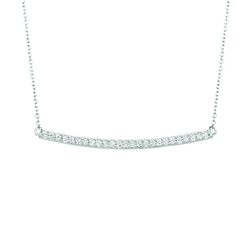 14K White Gold Diamond Bar Necklace - 0.25ctw. Diamond