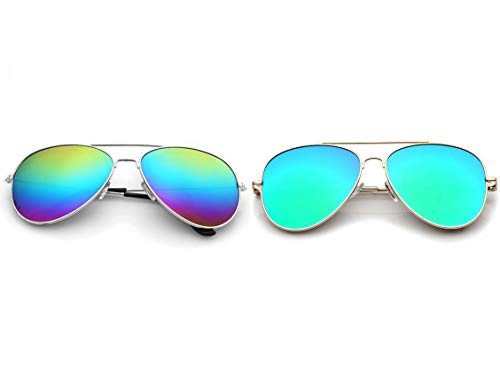 2PK Aviator Mirrored Sunglasses- Polarized Sunglasses- Mirror Shades- UV400- (Rainbow Lens)