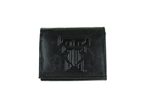 NCAA Texas Tech Red Raiders Tri-Fold Leather Wallet, Black