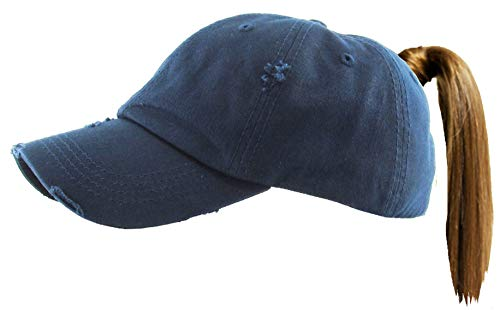 H-216-S31 Distressed Ponytail Paseball Cap: Solid Navy