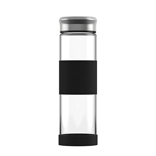 Glass Water Bottle 16.9 oz. Eco-Friendly | Reusable | Silicone sleeve and base | Easy to clean | Stainless steel cap | Great for camping, yoga or office gifts