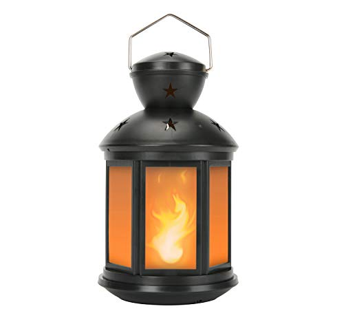 Vintage Decorative Lanterns Battery Powered LED, with 6 Hours Timer,Indoor/Outdoor,Small Lanterns Decor for Christmas,Black-1pc