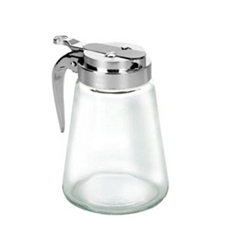 - Rocky Mountain Goods Glass Syrup Dispenser - Chrome plated lid - Dishwasher safe - Leakproof design - 8 ounce - More stable base to avoid tipping - Tempered Thick Glass (1)