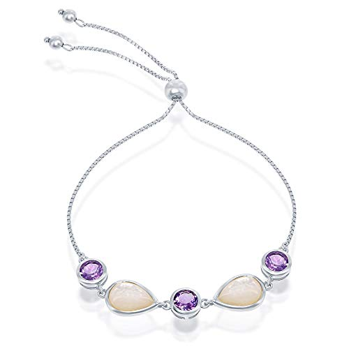 Amethyst Pearl Jewelry - Sterling Silver Amethyst Gemstone Pear-Shaped Mother of Pearl Adjustable Bolo Bracelet