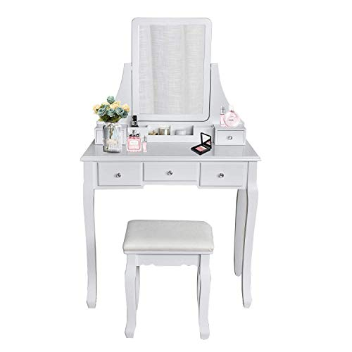 (Vanity Table Set Square Mirror with 4 Removable Dividers, Dressing Table Vanity Makeup Table Cushioned Stool & 5 Drawers for Bedroom/Women/Gift (Square Mirror, White))