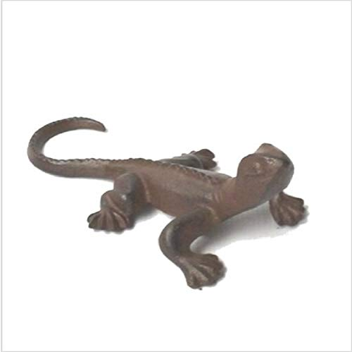 Ascalon Cast Iron Gecko - Rusty Brown Vintage Animal Figurine - Garden Decor - Lizard