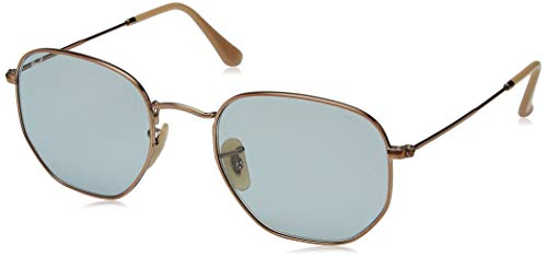 Ray-Ban RB3548N Hexagonal Evolve Photochromic Flat Lenses Sunglasses, Copper/Light Blue Photochromic, 54 mm ()
