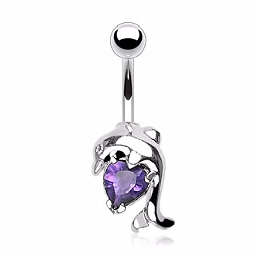 Covet Jewelry Dolphin w/Heart CZ Navel Ring - Dolphin Navel Dangle Jewelry