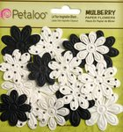 Petaloo - Flora Doodles Collection - Embossed Mulberry Flowers - Daisies - Mini - Black and White