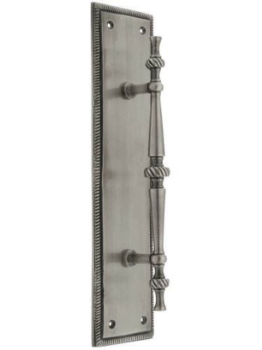 Large Traditional Door Pull With Rope Back Plate In Antique Pewter
