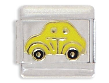 Yellow Car Italian Charm Bracelet Link