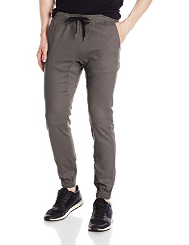 Brooklyn Athletics Men's Twill Jogger Pants Soft Stretch Slim Fit Trousers, Charcoal, Medium