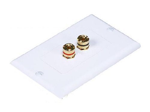 (WHITE 2 BINDING POST 1 SPEAKER WIRE WALL PLATE FOR SURROUND SOUND HOME AUDIO)
