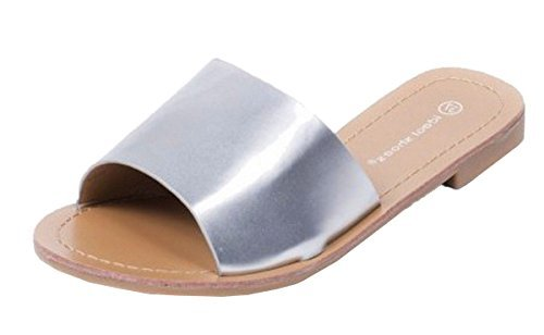 SHU CRAZY Womens Ladies Faux Leather Slip On Open Toe Fashion Mule Slider Sandals Shoes - N32 Silver 24ZJHYu