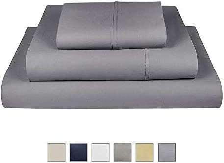 Fisher West New York Dark Grey Twin 100/% Pure Cotton 3 pc Sheet set-500 TC Sateen Weave-Luxurious Ultra-Soft-Extra Deep Pocket with TightFit 1-Inch Elastic-Fits Mattress up to 17 from The Village