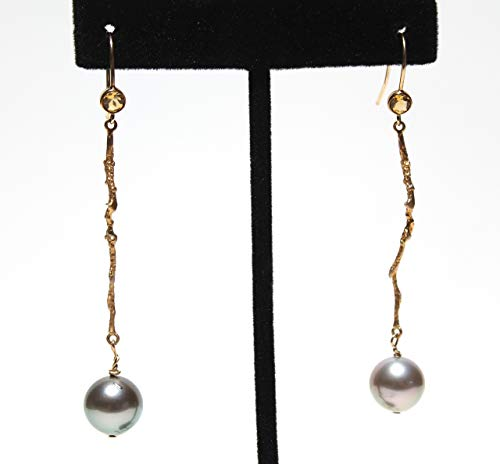 TAHITIAN round pearl earrings with modern twig design and natural citrines