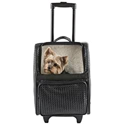 Petote Rio Bag Carrier On Wheels for 12 lb Dog (Black Woven)