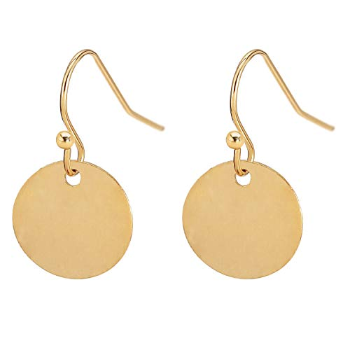 Gold Circle Disc Dangle Drop Earrings for Women Small Round Tiny Geometric Hoop Minimalist Jewelry Gift for Her ()