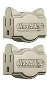 World Twin Hugger - Hug-A-Plug Dual Outlet Wall Adapter, Twin Pack Ivory