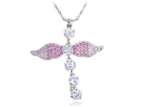 Alilang Light Rose Angelic Dragonfly Sprite Fairy Swarovski Crystal Element Necklace