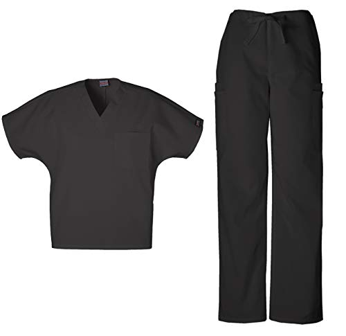 Cherokee Workwear Men's Dental/Medical Uniform Scrub Set - 4777 V-Neck Scrub Top & 4000 Drawstring Cargo Pants (Black - X-Large/X-Large) ()