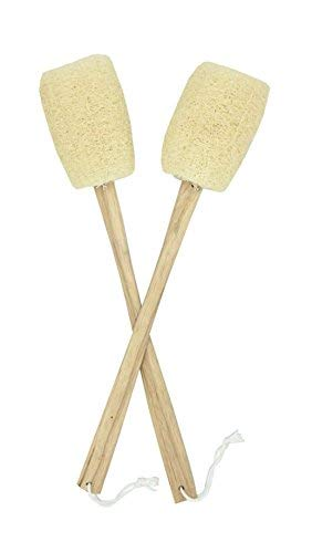 Eco Creation Premium Loofah Back Scrubber, Bath Sponge, Shower Pouf. Large Gourd Luffa with 17 Inch Handmade Wooden Handle (Set of 2). ()