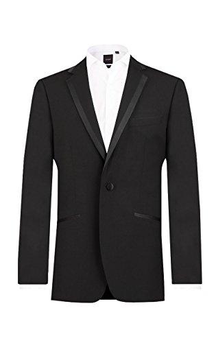 (Dobell Mens Black Tuxedo Dinner Jacket Regular Fit Notch Lapel Satin)