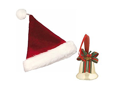 (Velvet Plush Santa Claus Hat and Caroling Hand Bell Bundle)