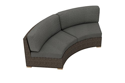 Harmonia Living Arden Curved Loveseat, Canvas Charcoal Cushions