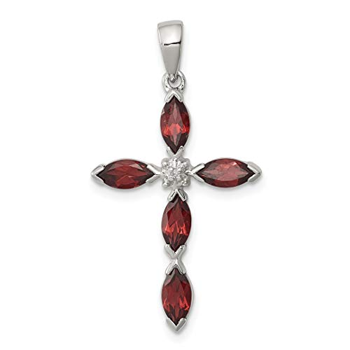 925 Sterling Silver Red Garnet Diamond Cross Religious Pendant Charm Necklace Gemstone Fine Jewelry For Women Gift Set