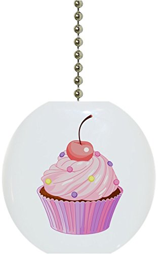 Carolina Hardware and Decor 1916FCherry Cupcake with Cherry Solid Ceramic Fan Pull