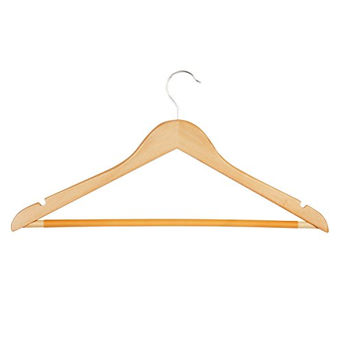 Honey-Can-Do HNG-01334 Wood Hangers with Non-Slip Grooved Bar, 24-Pack, Maple