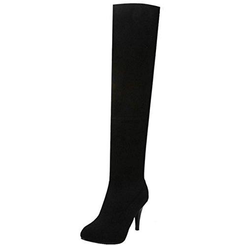 RAZAMAZA Women Over Knee Boots Pull On Black