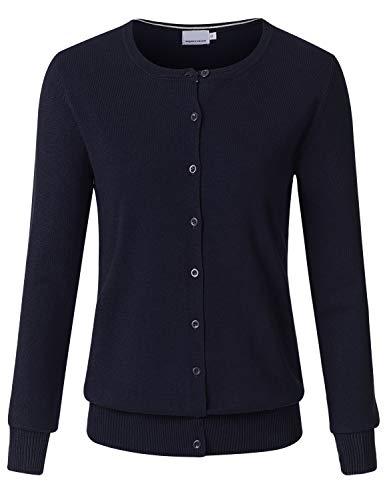 JSCEND Women's Long Sleeve Button Down Crew Neck Soft Knit Cardigan Sweater Navy M Crew Long Sleeve Cardigan