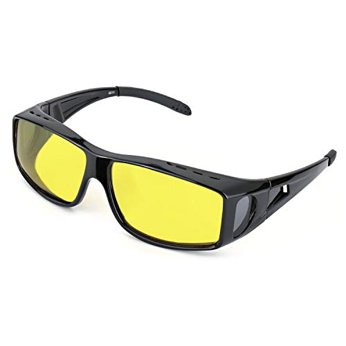 LVIOE Wrap Around Style Polarized Night Driving Glasses to Wear Over Regular Prescription Glasses (Black, Yellow)