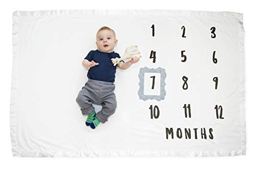 "Baby Monthly Milestone Blanket + Heather-Gray Frame | Boutique-Quality, Luxuriously Plush Blanket, Bright White Soft Coral Fleece Baby Milestone Blanket with Satin Trim | 40"" x 60"" 