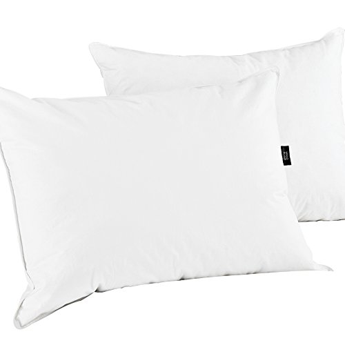 puredown Natural White Goose Feather Down Pillow Egyptian Cotton Cover 500 Fill Power King Size Set of 2