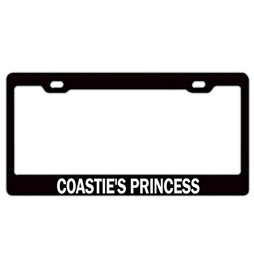 XYcustomBest Cute Queen Princes License Plate Frame, Slim Design Auto Car Decorative Cover for Women/Girls | Coastie's Princess Girly(4) | GM Front/Back Vehicle, 2Holes and Screws