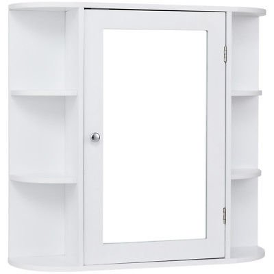 - Allblessings Wall Mounted Bathroom Storage Mirrored White Cabinet Organizer Multipurpose