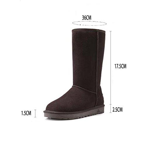 FUFU Damen Stiefel Herbst Winter Komfort Outdoor Casual Flache Ferse Schwarz / Braun / Grau / Rot / Gelb 0.98 in (2.5cm) Braun