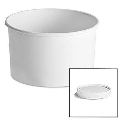 Chinet 71845 Squat Paper Food Container with Vented Paper Lid, 16 oz., White (Case of 250)