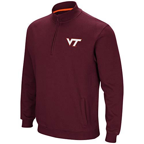 Colosseum NCAA Men's Tailgater Cotton-Poly Fleece 1/4 Zip Pullover-Virginia Tech Hokies-Maroon-XL (Virginia Pullover)
